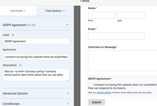Form Contatti GDPR in WordPress