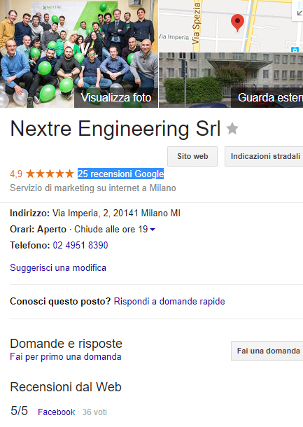 Recensioni Google Local SEO