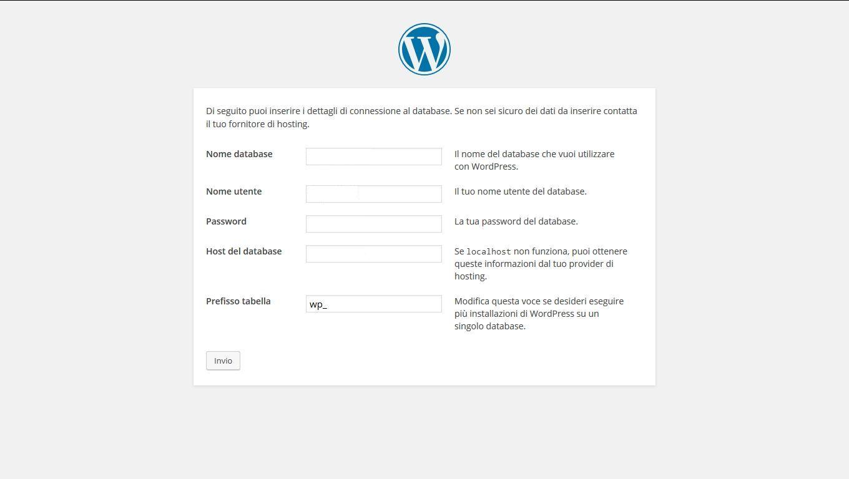 dati sito web aziendale WordPress