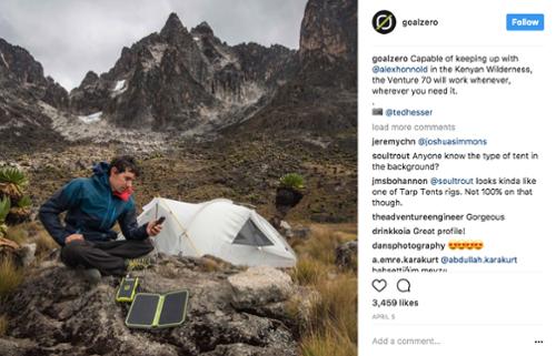 Goal Zero Instagram - social media marketing instagram