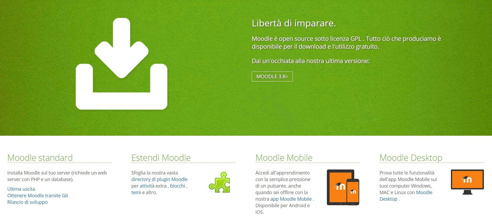 La schermata di installazione della piattaforma Moodle e le varie versioni possibili