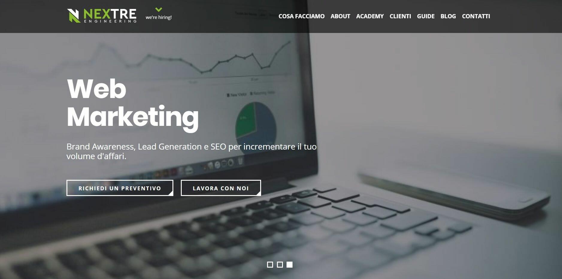 homepage Nextre Engineering - società di consulenza informatica