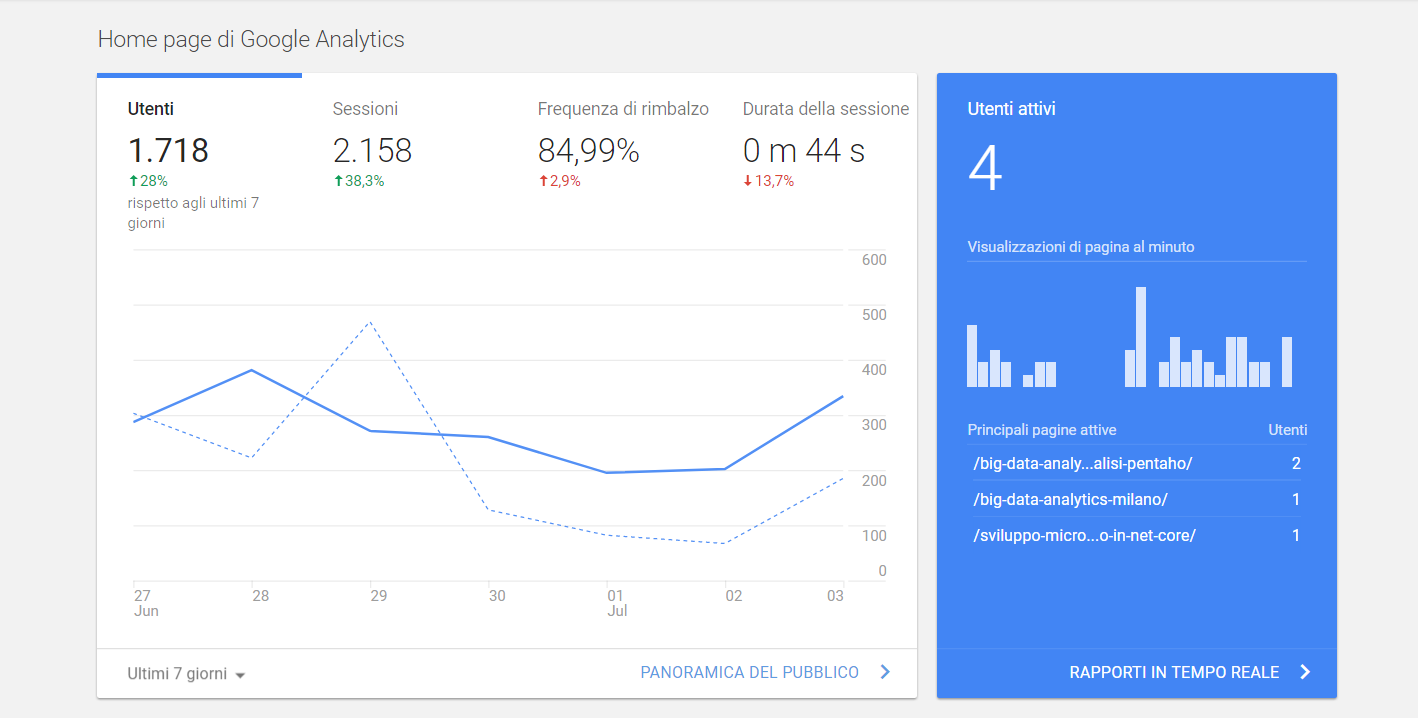 panoramica google analytics - seo per un centro estetico