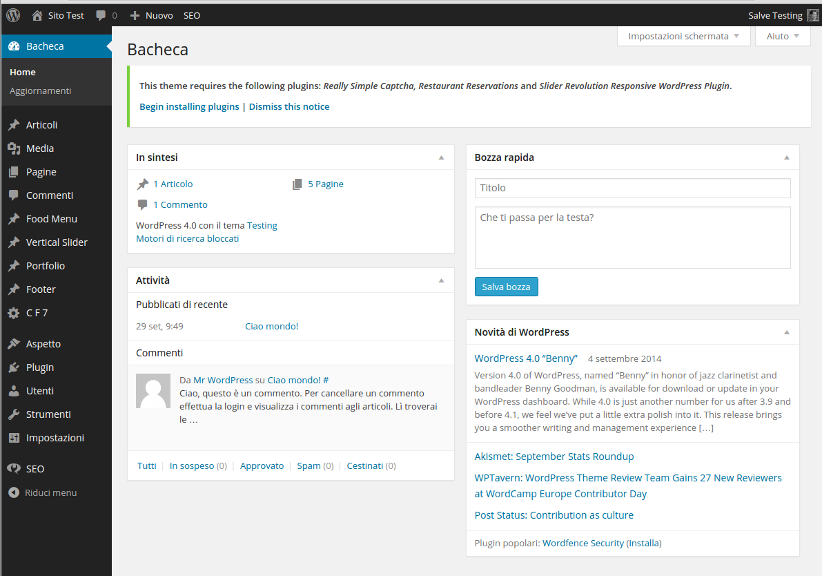 interfaccia WordPress - preventivo wordpress